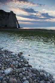 picture of nightfall  - Nightfall in the beach of Etretat Cote d - JPG