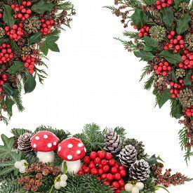 foto of greenery  - Christmas fantasy scene with fly agaric mushroom baubles - JPG