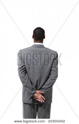 portrait of black businessman with suit, back view
