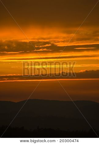 Vibrant Orange sunset in British Columbia