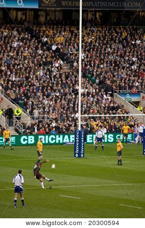 TWICKENHAM LONDON - NOVEMBER 13: Toby Flood Kicking for goal at  England vs Australia Investec Rugby Match on November 13, 2010 in Twickenham, England.