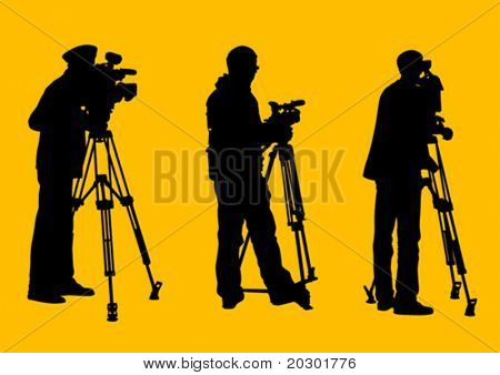 Vector graphic cameraman at work. Isolated silhouette on a yellow background