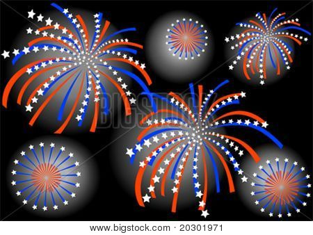 Vector drawing colorful firework on background of dark sky