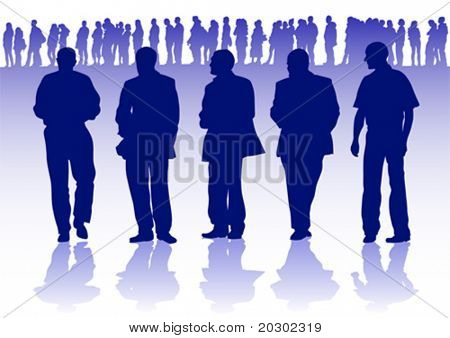 Vector graphic group of businessmen on the background of the crowd
