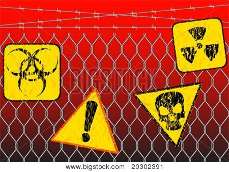 Vector graphic sign warning of radiation. Prohibitory sign