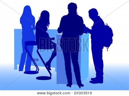 Vector drawing man and women from office. Images workplace employment office