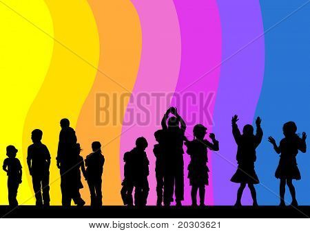 drawing child in rainbow. Silhouette of people