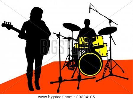 Vector drawing musical group on stage. Silhouettes on white background