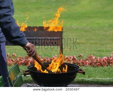 Barbecue Grills And Flame