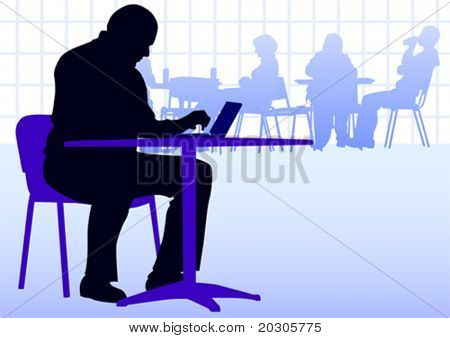 Vector image businessman with a laptop at a table in a cafe