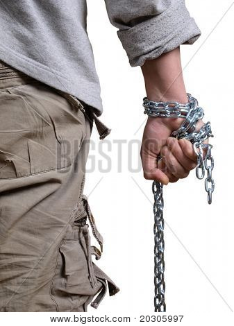 Color photo of a man with a chain in his hand