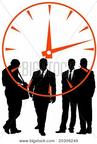 image of businessmen in background of clock