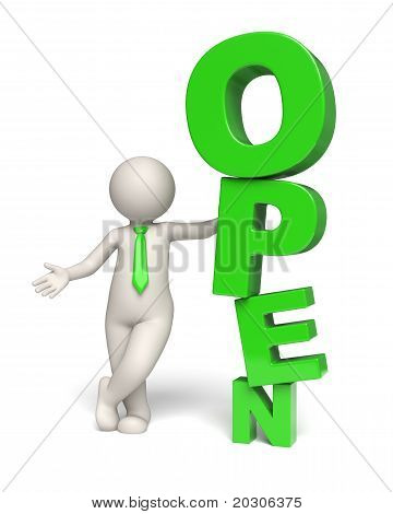 Green Open Text Icon - 3D Business Man