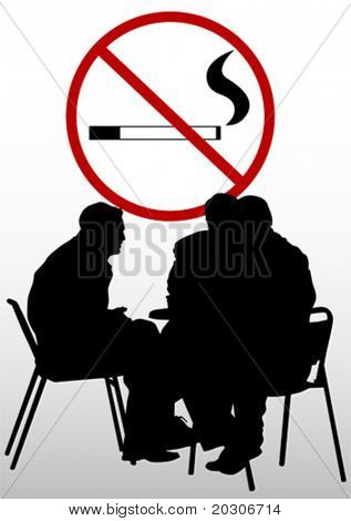 Vector drawing people in cafes and prohibitory sign