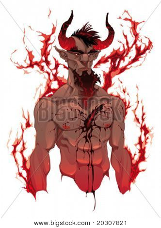 Devil. Demon's portrait. Vector isolated illustration. 4 levels: Head, Blood, Body and Flames. You can easily remove flames and blood to have nude body.