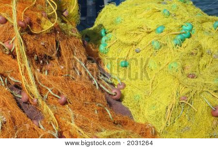 Yellow Fishing Nets In Greece