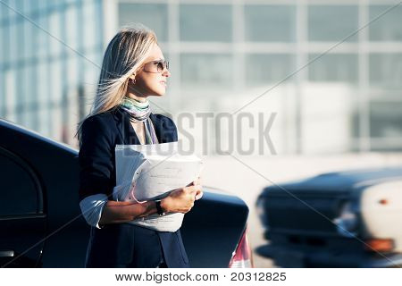 Young businesswoman with financial reports.
