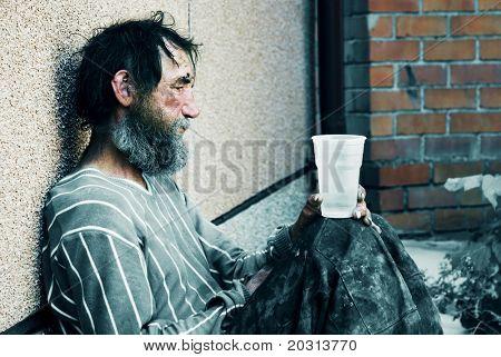 Obdachlose in Depressionen.