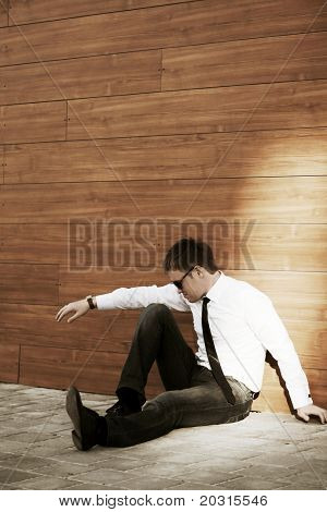 Young businessman in depression