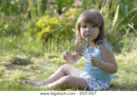 Litle Scared Girl Lost In Meadow
