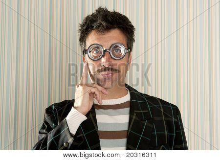 crazy nerd man myopic thinking gesture expression funny glasses man