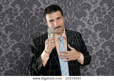 nerd retro mustache man microphone singing silly wallpaper background