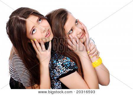 zwei emotionale Mädchen Jugendliche. isolated over white Background.