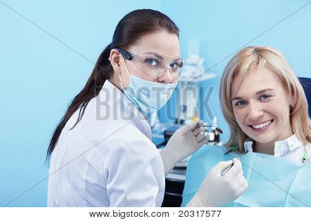 The patient and dentist in dental