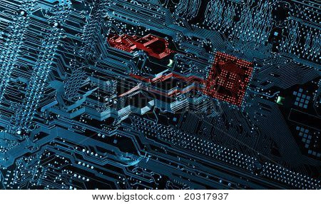 computers motherboad, circuit-board, technology and engineering concept in blue and red toning