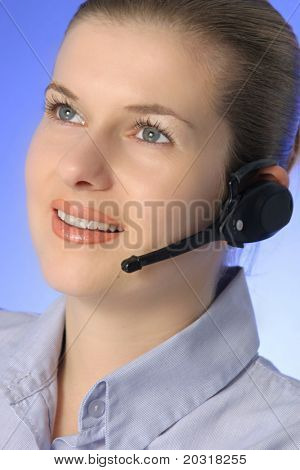 happy lady with headset