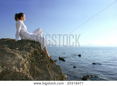 woman on rocks