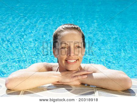 woman at pool edge