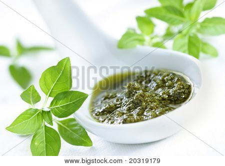 pesto with basil around