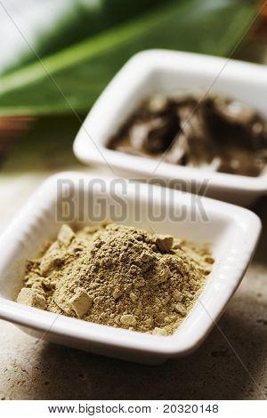 algae powder and natural mud for skin care
