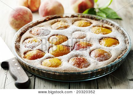 delicious homemade peach tart, made with fresh organic ingredients