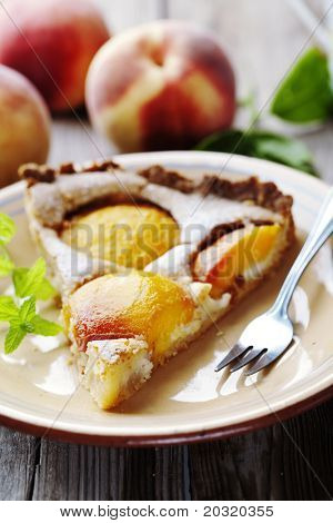 homemade peach tart, made with fresh peaches and almond cream