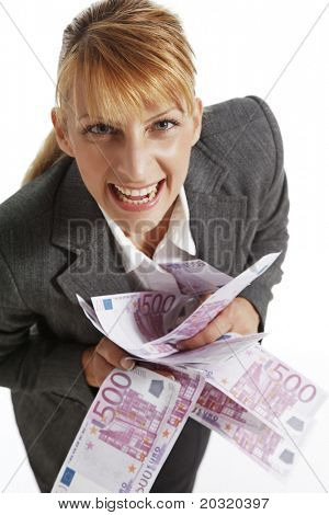 business woman with 500 euro notes