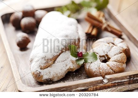 closeup of christmas stollen
