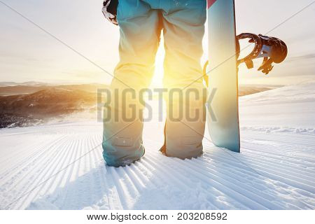 Closeup snowboarding concept