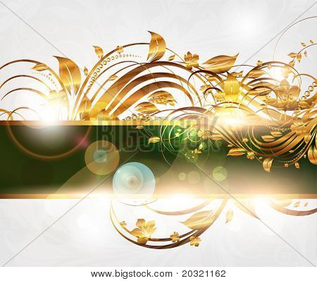 Summer bright golden banner for vintage design. eps 10