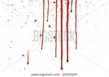 Dripping blood with splatter pattern isolated on a white background