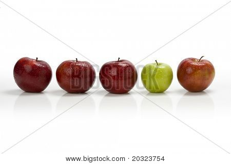 Think Different - Red apple row with one green apple