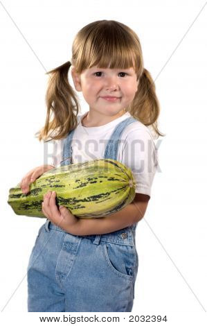 Little Girl Holding Zucchini