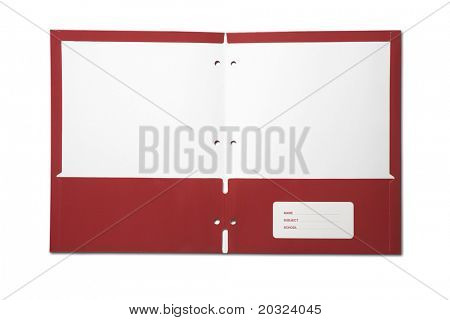 Open empty folder isolated on a white background