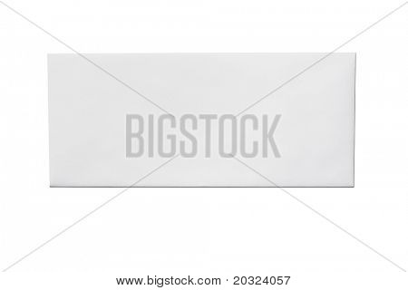 Front of an unused white envelope isolated on a white background