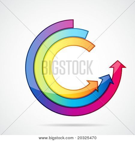 Abstract background with open ring of arrows. Easily editable vector illustration.