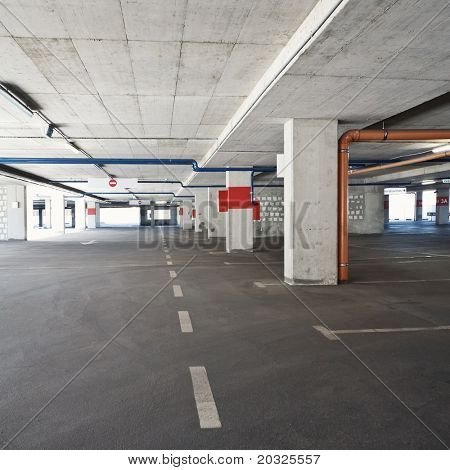 Empty parking lot area, wide angle view.