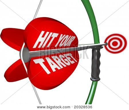 An arrow  with the words Hit Your Target is pulled back on the bow and is aimed at a red bulls-eye target, symbolizing the aim it takes to achieve your goal and reach your objective of success