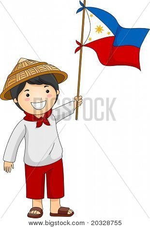 Illustration of a Filipino Kid Holding the Philippine Flag