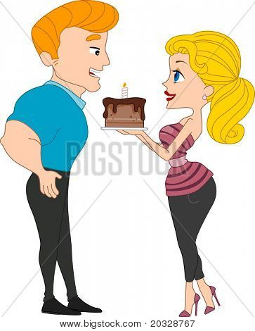 Illustration of a Girl Handing a Birthday Cake to a Guy